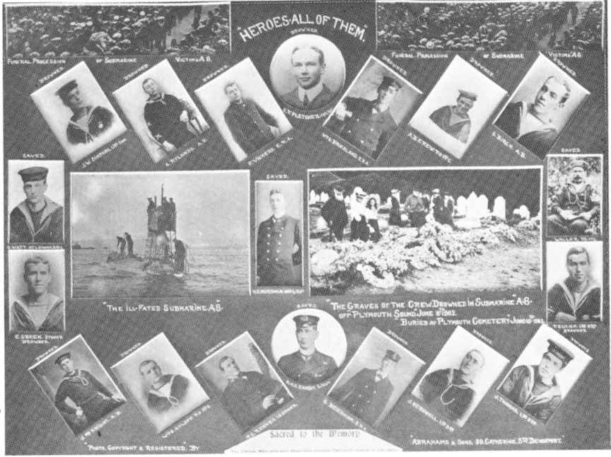 Memorial card showing the crew and the A8.