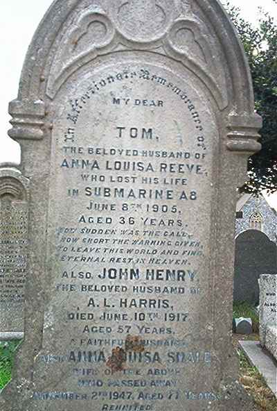 Tom Reeve, Chief Stoker,buried with his family in another part of the graveyard.