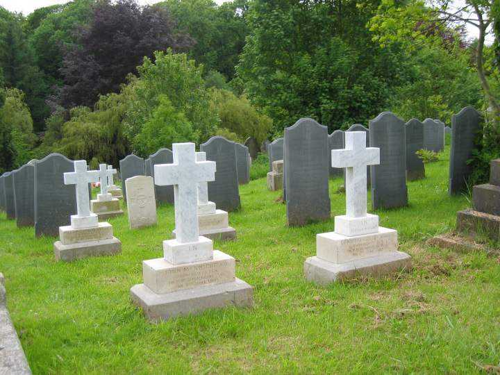 The restored graves are white.