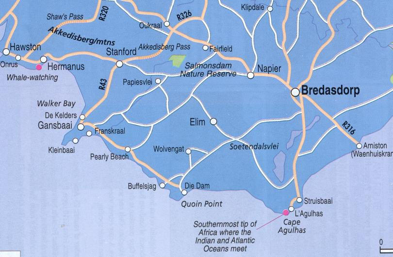 Directions to Cape Agullas.