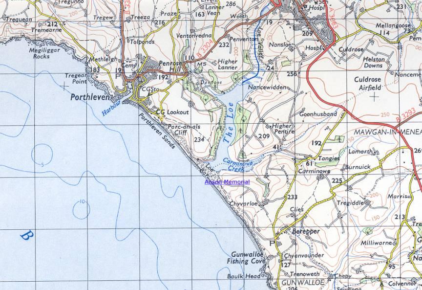 Location Map of Anson Memorial.