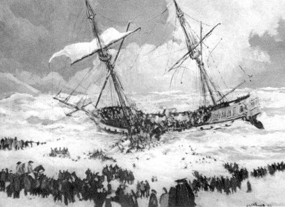The wreck of the frigate Anson on Loe Bar.