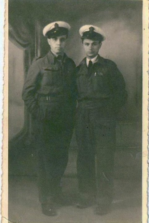Anthony, on the left, and his shipmate Francis Cauchi.