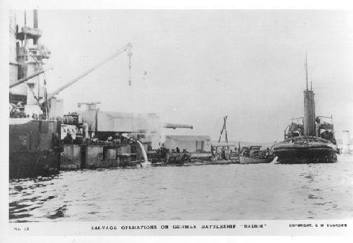 The battleship Baden being salvaged.