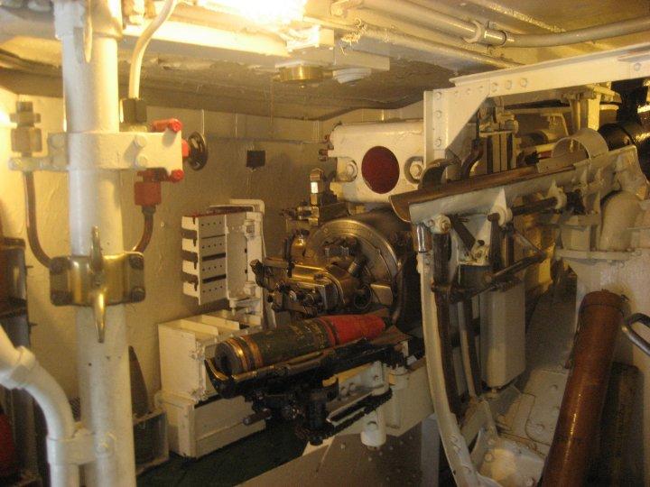 Inside the gun turret.