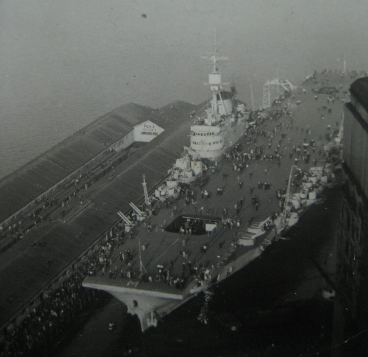 Bobby served on the Aircraft Carrier H.M.S. Implacable seen here in Vancover and Tricomalee for VJ day
