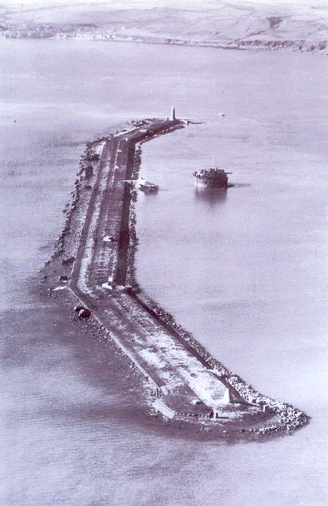 Arial view of the Plymouth Breakwater