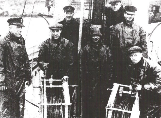 The crew of the Plymouth lifeboat 'Robert and Marcella Beck.