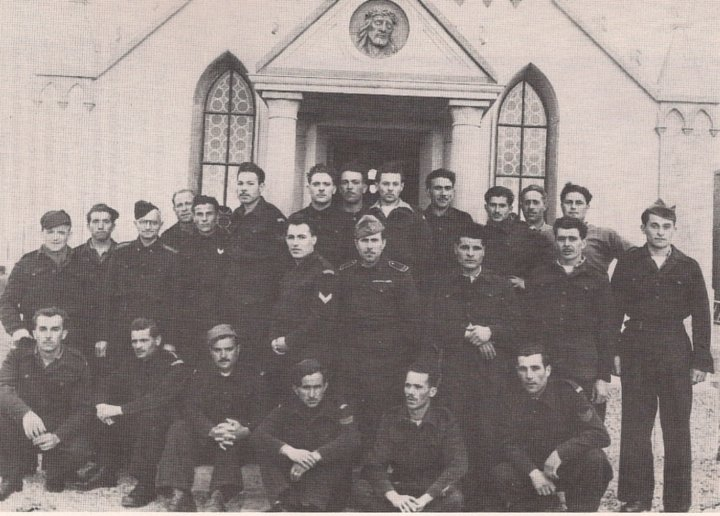The men who built the Chapel. Chiocchetti is on the far right. Photo courtesy of the Chapel Preservation Society.