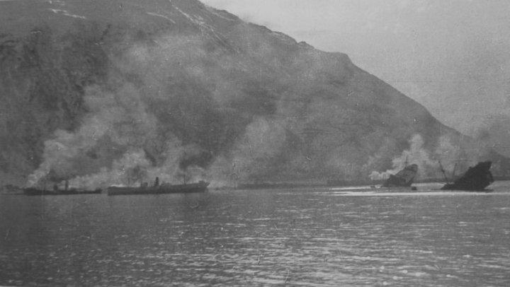Devastation caused by British destroyers in Narvik harbour.