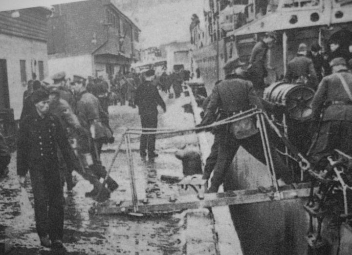 The Hans Ludeman landing troops in Narvik.