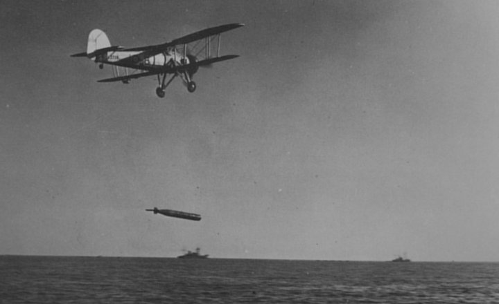 A Fairy Swordfish dropping a torpedo.