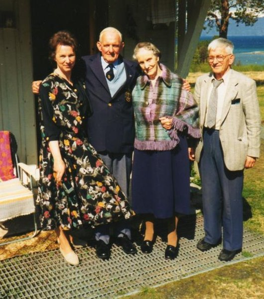 The Christiansen family with Cyril Cope, on the right is Mrs. Petra Christiansen and on the left is her youngest daughter Lilli. On the far right is Olav Kristensen , Foreman of the Narvik Veteraners. Photo Ron.Cope.