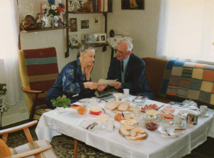 Cyril Cope with Mrs. Petra Christiansen, May 1990. Photo Ron.Cope.