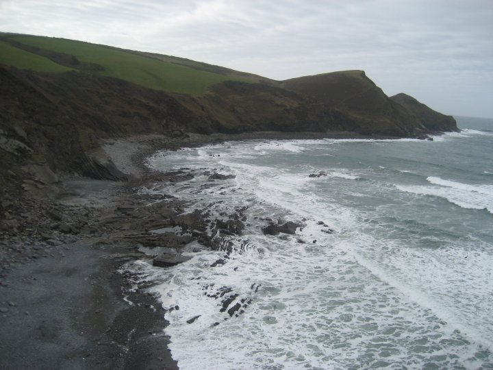 You can see the remains in the far bay from the cliffs.
