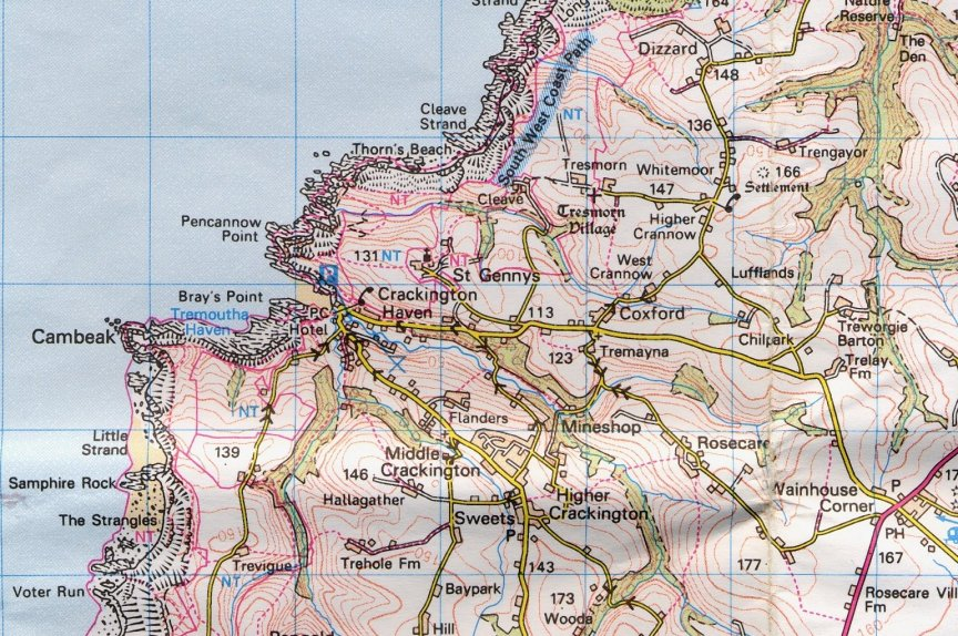 Maps of Tremoutha Haven and Crackington Haven.