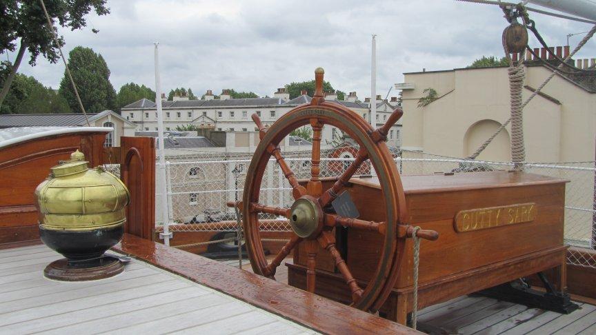 Ships wheel and binacle.