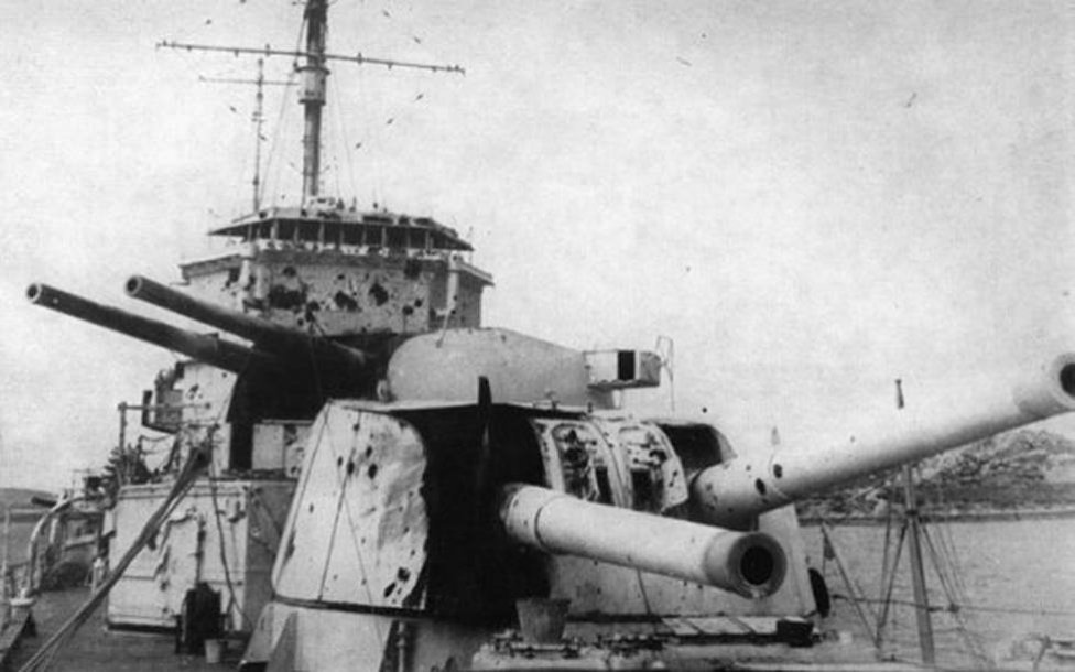 HMS Exeter showing her damage after action with the Graff Spee. Photo courtesy navy photos and Ian Morte