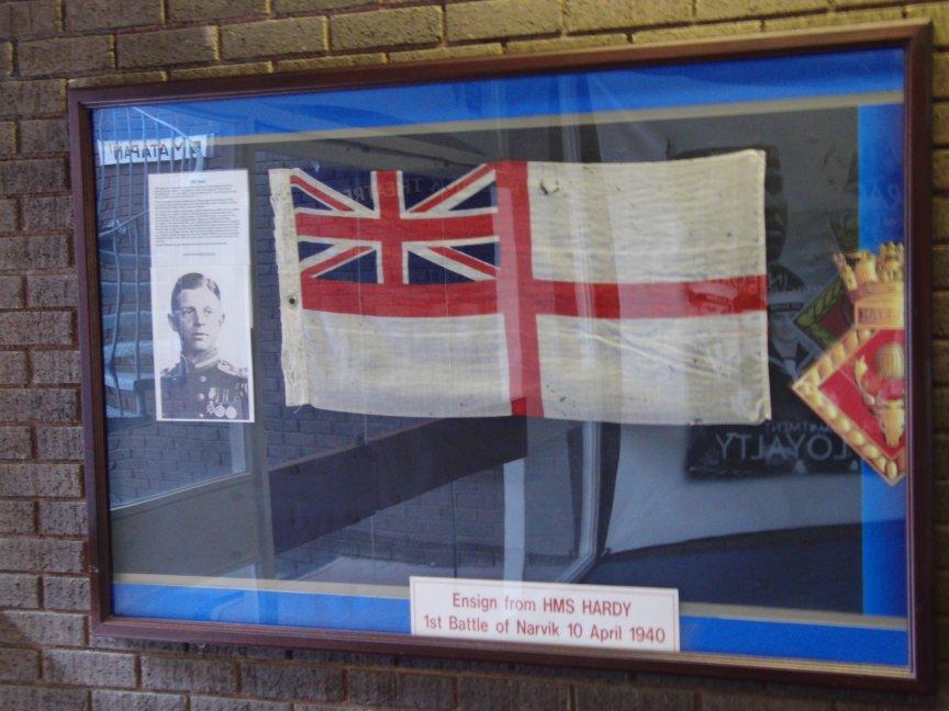 H.M.S.Hardy's Ensign on show at H.M.S.Raleigh training base, Torpoint Cornwall.