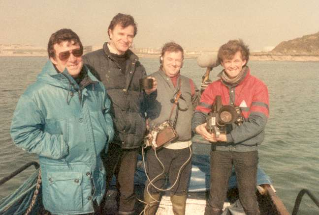 Pete Barraclough (presenter with cup) and the film crew.