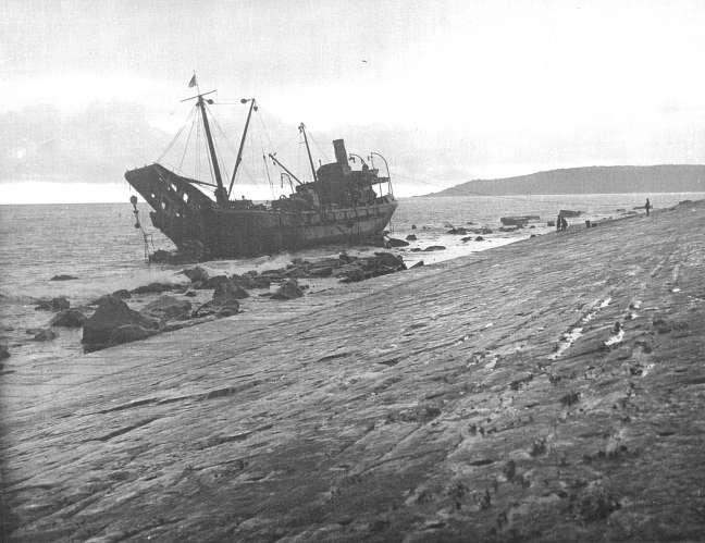 The Freija hard aground.