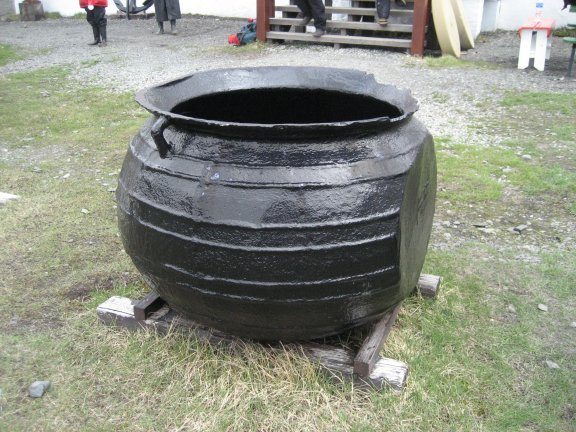 One of the Try pots found at the original settlement.