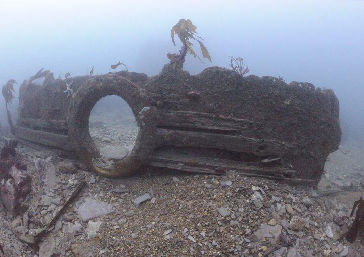 Wreckage near the stern.