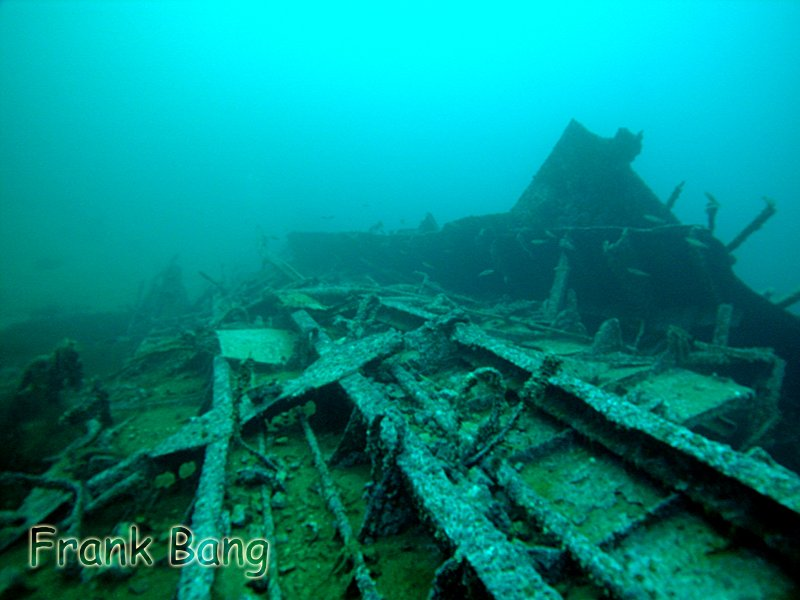 The wreckage of the Hardy. Note the shell in the left hand photo.