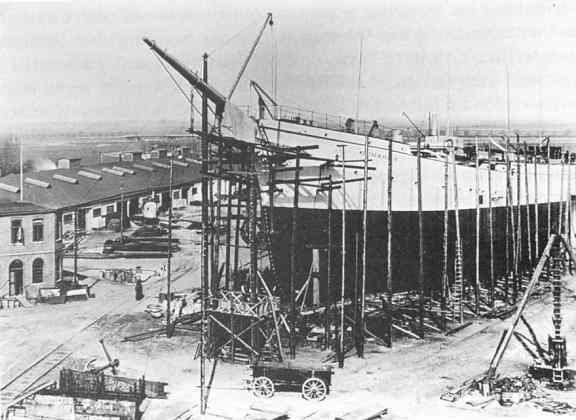 The 'Duchess' being built at Bremerhaven.