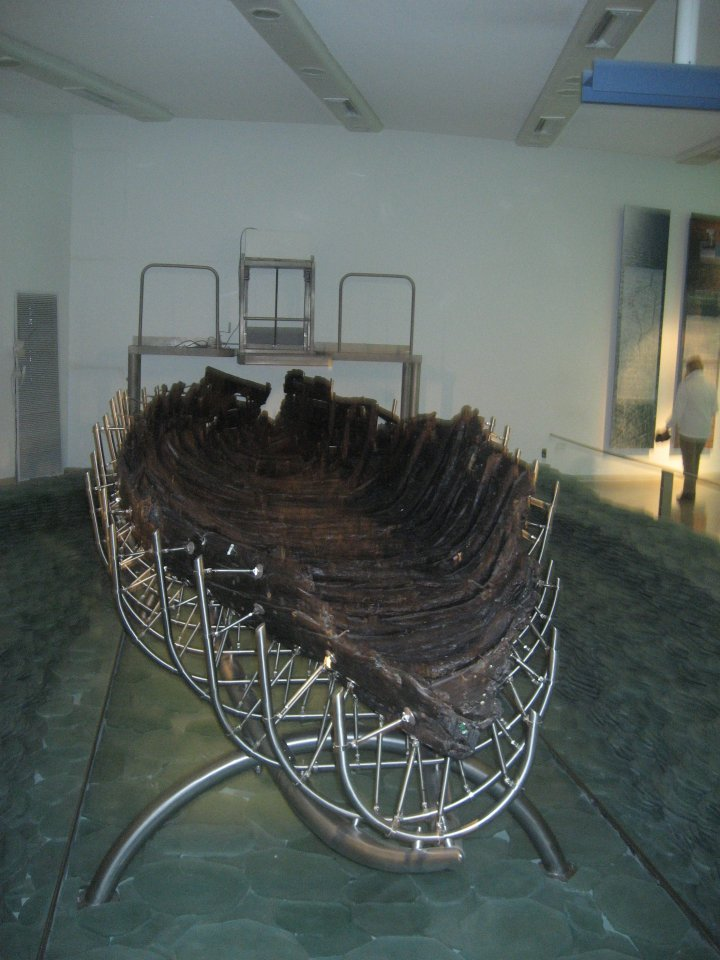 Front view of the boat in its cradle.