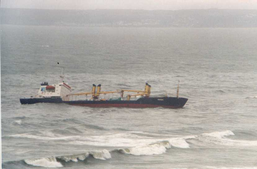Hard aground in Whitsands Bay.