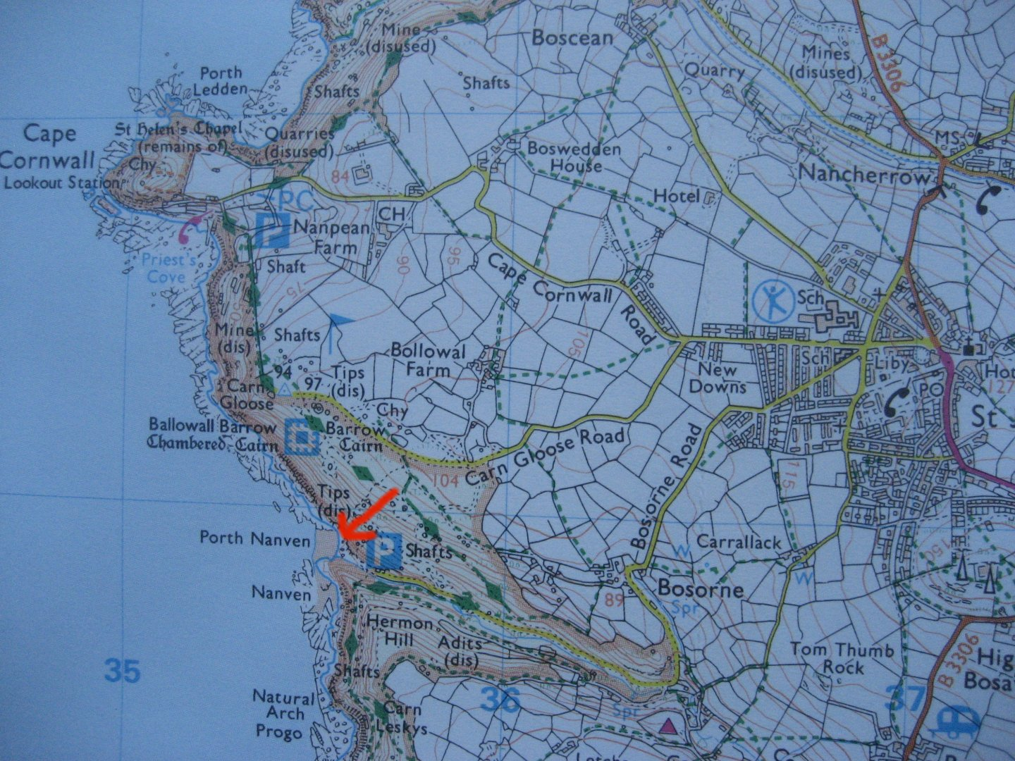 Location of Porth Nanven and Cape Cornwall.