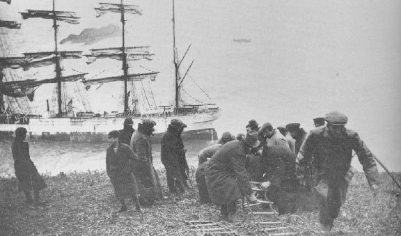 Coastguards rigging a rope ladder.
