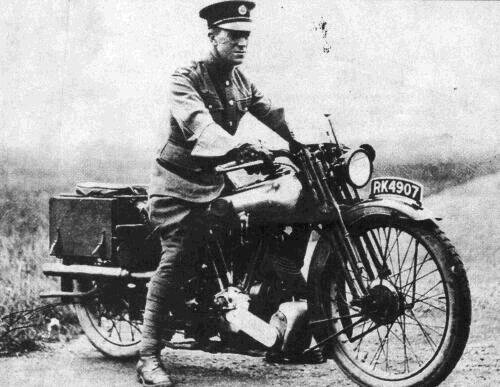 Lawrence with his beloved Brough Suprior motobike.
