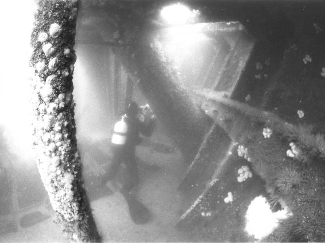 Filming inside the hull.
