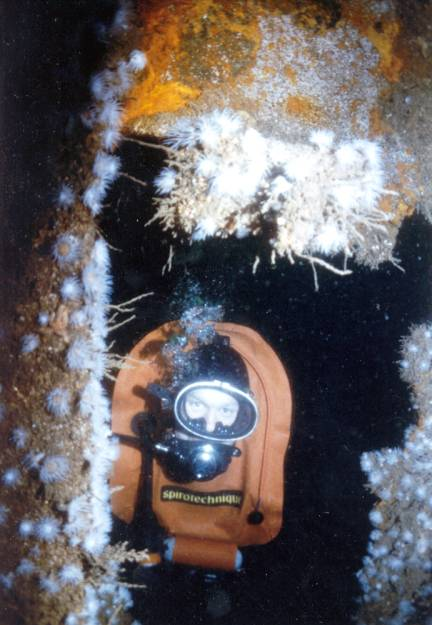 Looking through a hole in the hull. Check out the gear, circa 1970.
