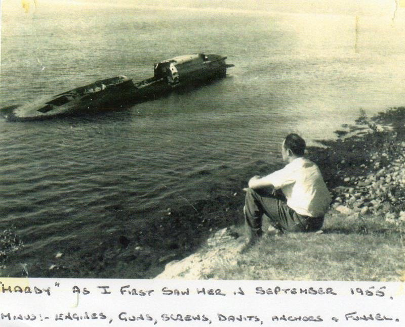 Bill Sanders Brother in law looking down at Hardy 1955. Photo supplied by Bill Sanders