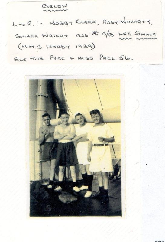 Les with two shipmates on Hardy. One was AB Andrew Whearty who was killed in the TS mentioned in Cyril Copes Account