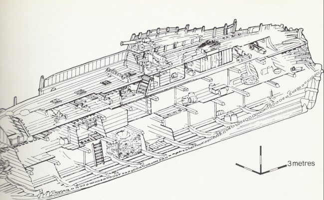 Diagram of what was left of the ship.