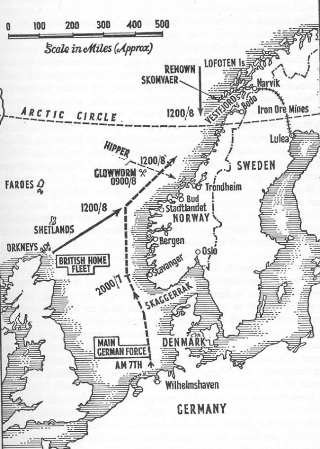 Map showing both Fleet's approach to Narvik.