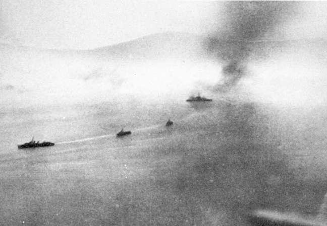 Warspite completing the Erich Koellner's destruction.