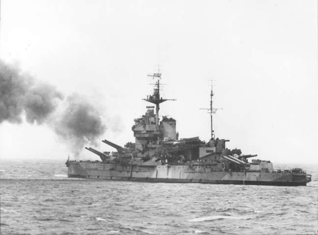 The Warspite opens fire.