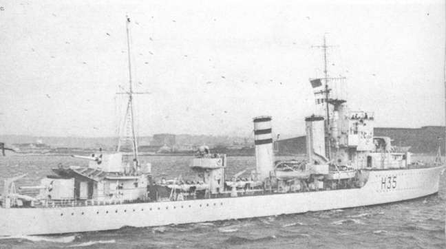 H.M.S. Hunter seen here at Plymouth before the Battle.