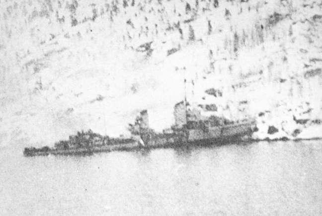 Georg Thiele hard aground.