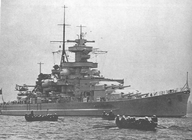 The Battleship Gneisenau, which had nine 11 inch guns.