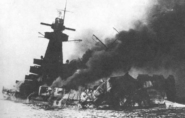 The destruction of the mighty Graf Spee.