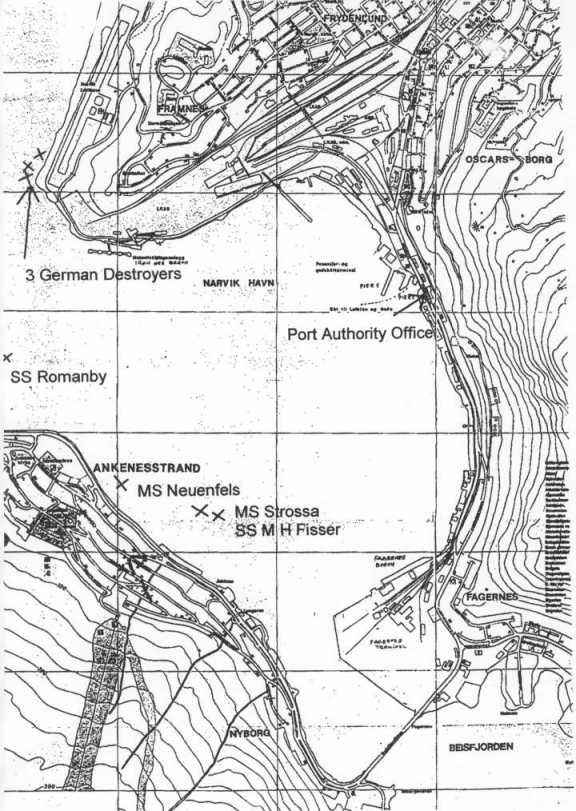 Map showing wrecks in Narvik harbour.