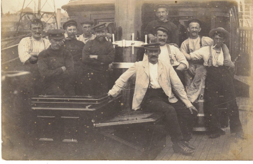 Capt. Hitchins with some sailors,probably not from the Crossowen.