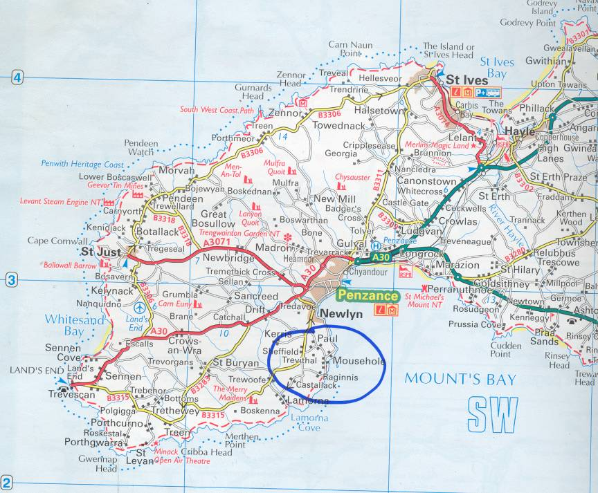 Map showing Mousehole and Paul.