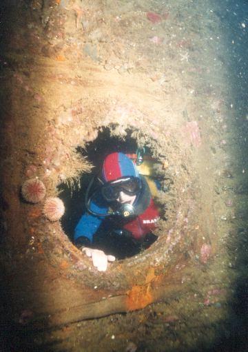 One of the Konig's massive portholes.